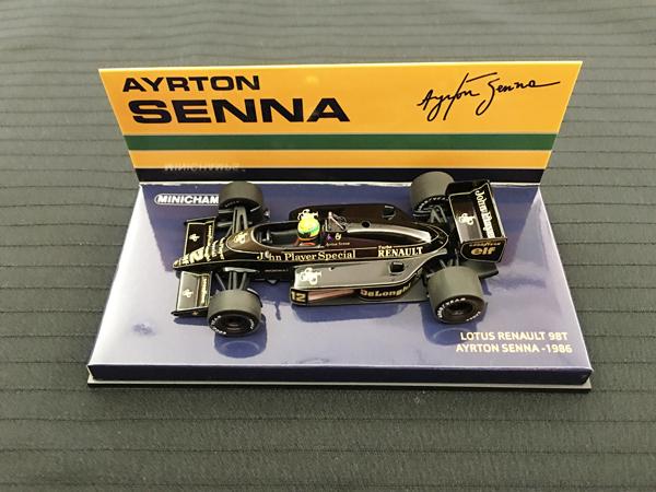 ミニチャンプス 1/43 ロータス98T A.セナ 1986(NEWパッケージ) 当店オリジナルタバコモデル