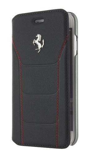 """フェラーリiPhone7 カバー """"Ferrari 488 Booktype Case Black Genuine Leather SilverLogo"""""""