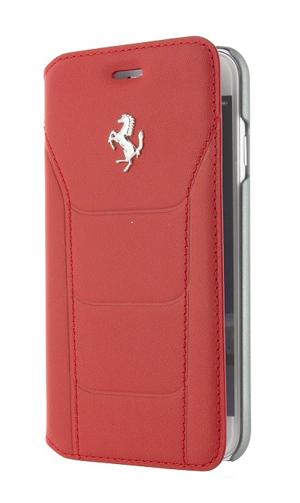 """フェラーリiPhone7 カバー """"Ferrari 488 Booktype Case Red Genuine Leather SilverLogo"""""""