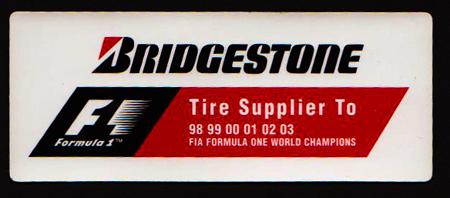ブリヂストン F1 98~03チャンピオン記念 プロモーションステッカー