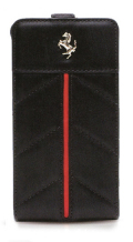 �ե��顼��iPhone5���С�����Ferrari Genuine Leather Flip Case��Black Line ��