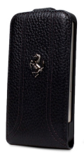 �ե��顼��iPhone5���С�����Ferrari Genuine Leather Flip Case��Black��