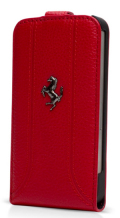 �ե��顼��iPhone5���С�����Ferrari Genuine Leather Flip Case��Red��