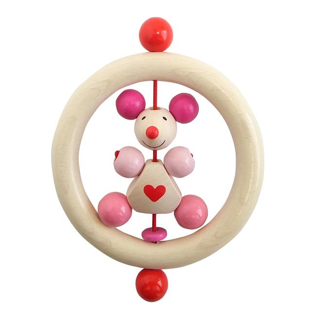 はじめての木のおもちゃ ハートネズミ ピンク