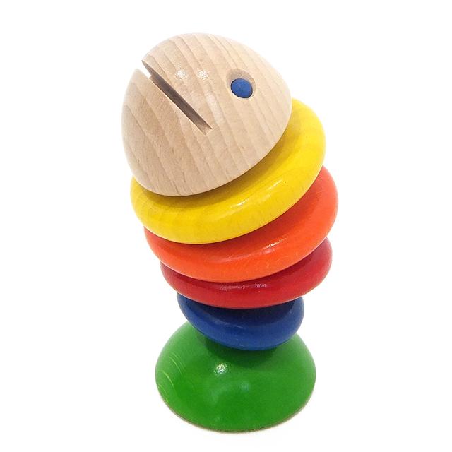 【8ヶ月頃〜】 HABA ハバ はじめての木のおもちゃ ラトル 歯がため 指先トレーニング さかな