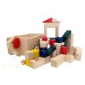 KOIDE 木のおもちゃ 日本製 カラー まーるい積み木 引き車付き 41ピース