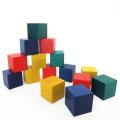 木のおもちゃ キューブ型 カラー 積み木 大きめ 15ピース