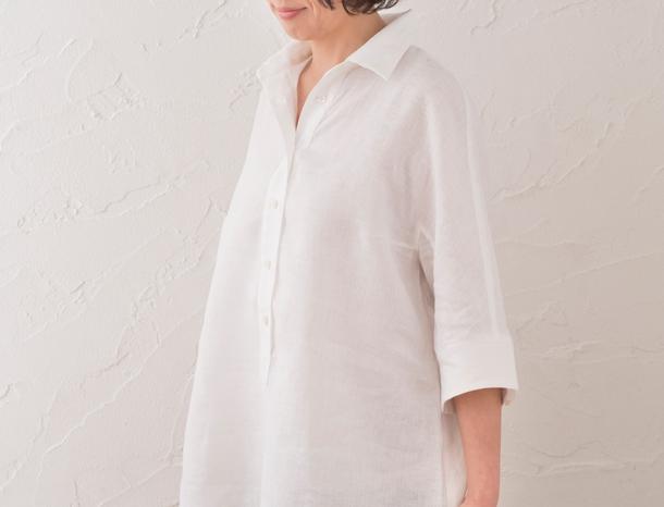 五分袖のリネンシャツ 白