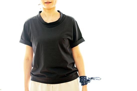 ロールカラーTシャツ  ネイビー