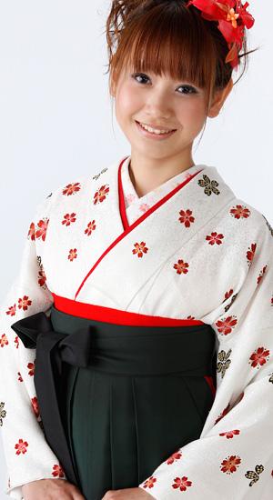白地に花柄【袴レンタル着物】K2062
