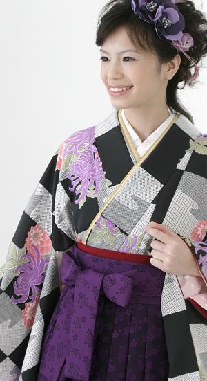 黒と白のチドリ柄に菊【袴レンタル着物】2230
