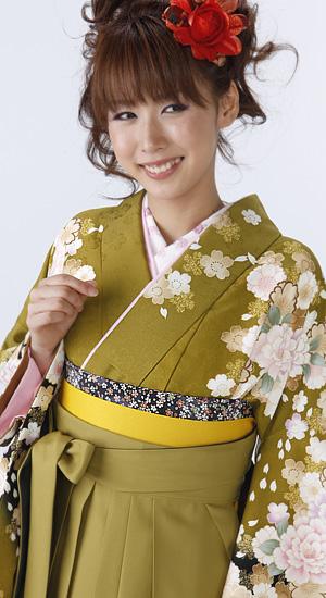 抹茶に桜【袴レンタル着物】K2595