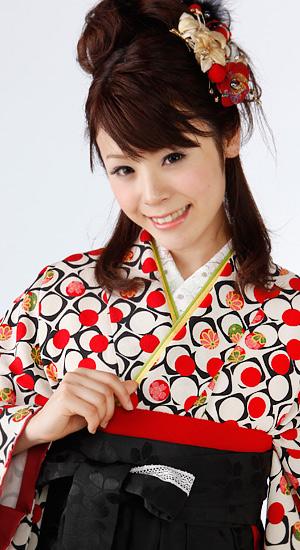 白に幾何学模様【袴レンタル着物】K2843