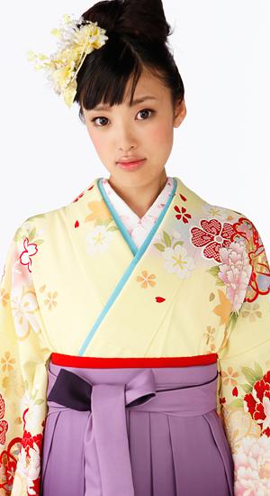 レモン色にボタン・桜【袴レンタル着物】K2870