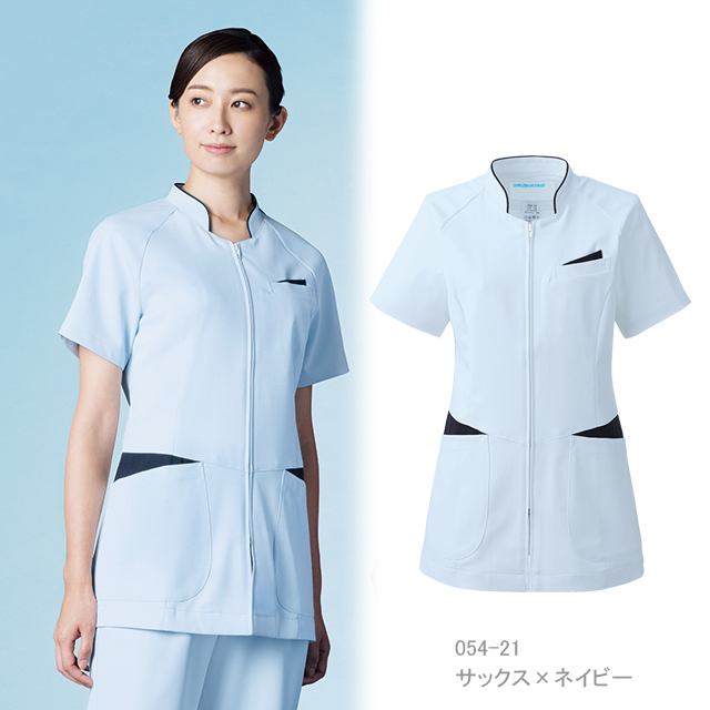 054 KAZENカゼン レディスジャケット 医療 白衣 半袖
