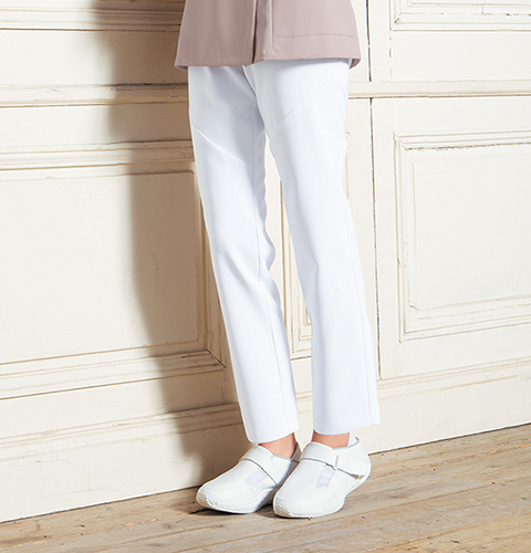 HI301 ワコール 女性用 スリムストレートパンツ フォーク 白衣 医療用白衣 看護師用 ナース 白 ホワイト ピンク ナース ナース服 ナースウェア ナースウエア パンツ 白衣ネット