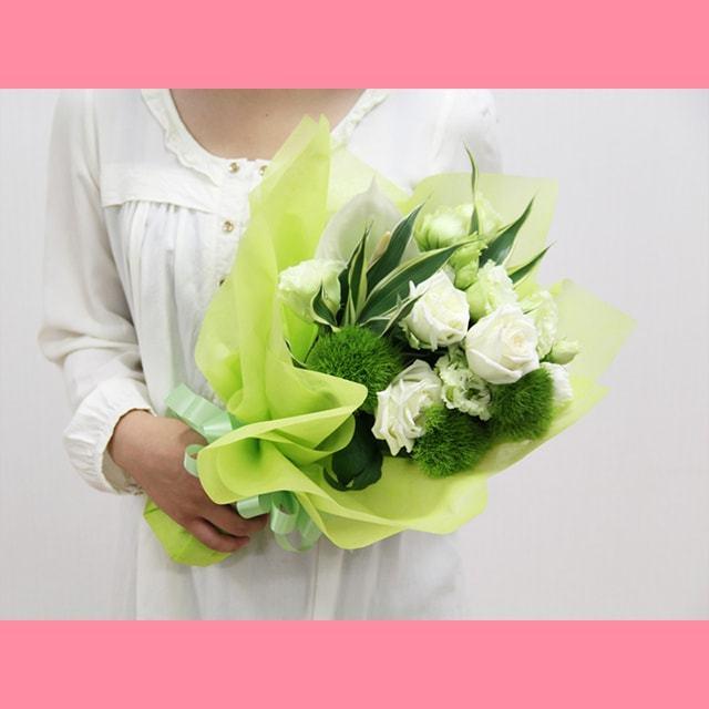 白・緑系の花束