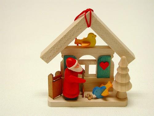クリスマスオーナメント グラウプナー社(Graupner) オーナメント サンタの家・二羽のことり
