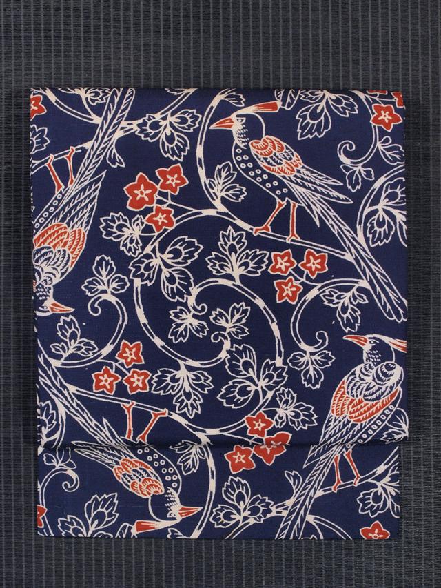 花唐草に鳥文様 型染め 名古屋帯
