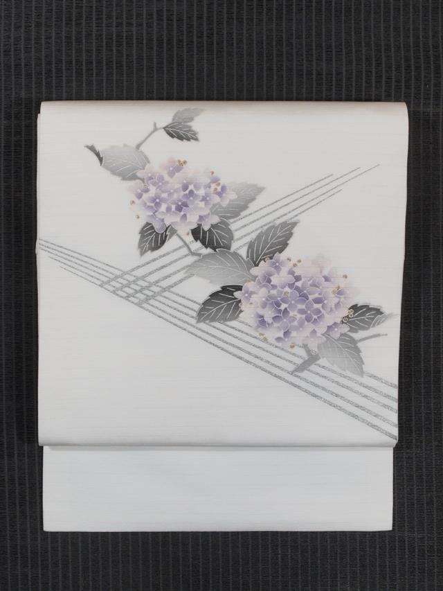 垣根に紫陽花の絵図 手描き染め 絽 名古屋帯