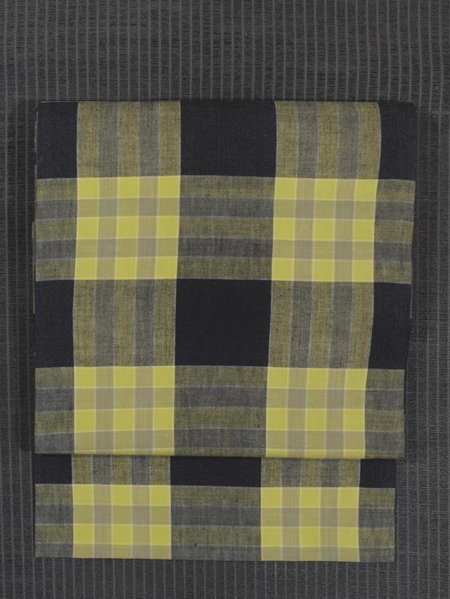 黄檗色(きはだいろ)色と濃藍色の格子縞 綿絣 名古屋帯