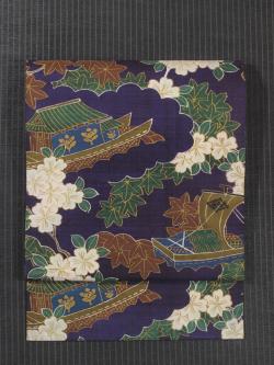 帆掛け船に草花文様 型染め 名古屋帯