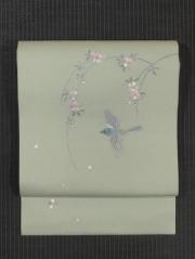 飯島桃子作 桜に鳥文様 日本刺繍 名古屋帯