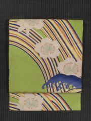 花菱の地紋に流水桜文様 型染め 名古屋帯