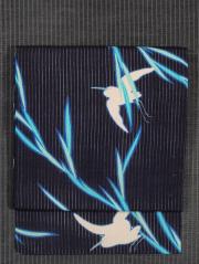 柳に鷺文様 型染め 縦絽縮緬 名古屋帯