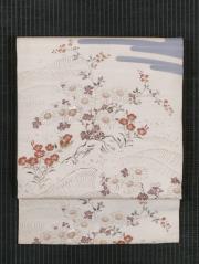 霞に秋草の絵図 型染めに手刺繍 絽 名古屋帯