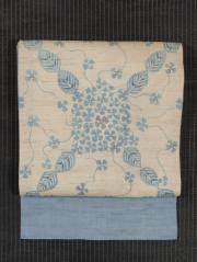 紫陽花文様 藍型染め 麻 名古屋帯