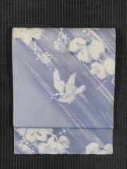 葡萄に鳥文様 手描き染めに手刺繍 絽 名古屋帯