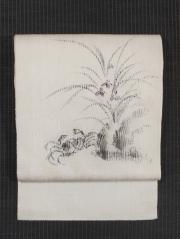 紙布に蟹の絵図 手描き染め 名古屋帯