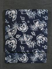 ふくら雀文様 藍型染め 名古屋帯