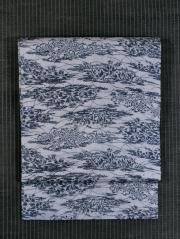 露草に草花文様 型染め 麻 名古屋帯