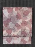 ふくれ織りに木の葉と陶片文様 型染め 名古屋帯