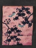 桜に鳥文様 型染め 名古屋帯