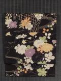 茶屋辻に草花文様 型染めに手刺繍 名古屋帯