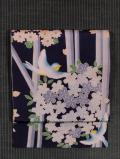 草花に鳥文様 型染め 名古屋帯