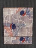分銅繋ぎにチューリップ文様 絣織り 名古屋帯
