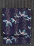三枡に笹の葉文様 型染め 名古屋帯