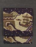 波縞に帆船文様 型染め 名古屋帯