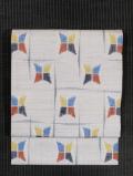 破れ格子に幾何学文様 絣織り 真綿紬 名古屋帯