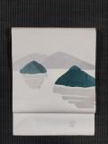 風景文様 手描き染め 塩瀬 名古屋帯
