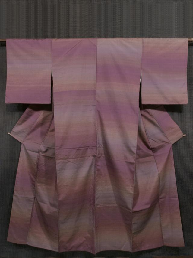 葡萄茶(えびちゃ)色 段縞文様 真綿紬 袷