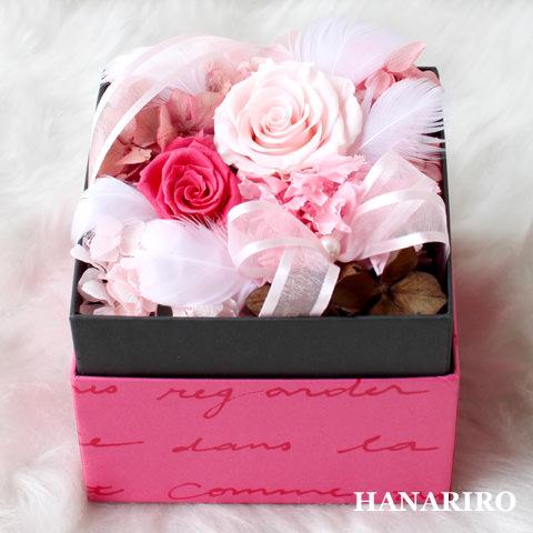 アレンジ「ファンシーBOX(ピンク)」/プリザーブドフラワーギフト  【送料無料♪】