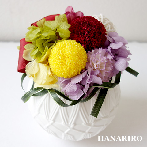 アレンジ「花手鞠(はなてまりL)」/プリザーブドフラワーギフト 【送料無料♪】