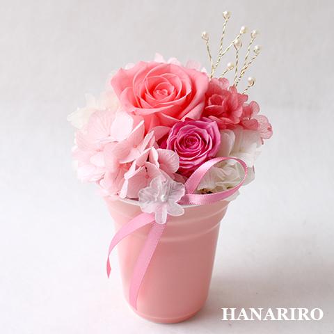 アレンジ「プリフラ(ピンク)(クリアケース入)」/プリザーブドフラワーギフト  【送料無料♪】
