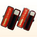銀行印・認印 玄武 (黒彩樺)  12mm+10.5mm 2本モミ皮ケース付セット