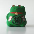 風水貯金箱 招き猫 まる福ねこ(緑)